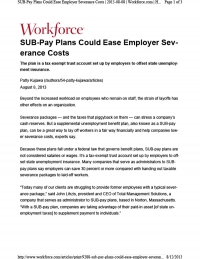 SUB-Pay Plans Could Ease Employer Severance Costs
